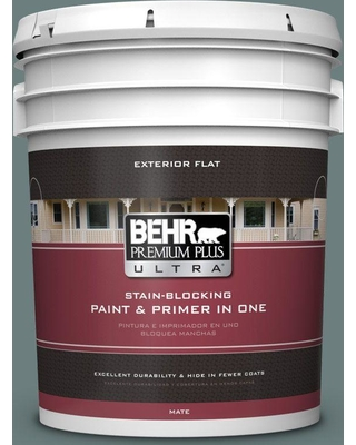 BEHR ULTRA 5 gal. #N440-5 Coney Island Flat Exterior Paint and Primer in One