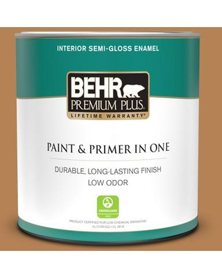 BEHR PREMIUM PLUS 1 qt. #S250-5 Roasted Cashew Semi-Gloss Enamel Low Odor Interior Paint and Primer in One