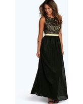 Womens Boutique Lace & Metallic Maxi Dress - Black - 10