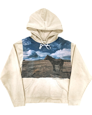 Men's Profound Kill The Past Horse Hoodie, Size Small - Beige