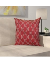 """Latitude Run Decorative Holiday Geometric Print Outdoor Throw Pillow LTRN4963 Size: 18"""" H x 18"""" W, Color: Cranberry"""