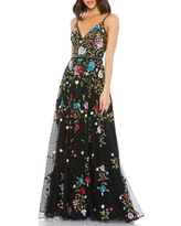 Mac Duggal Floral Embellished A-Line Gown, Size 2 in Black Multi at Nordstrom
