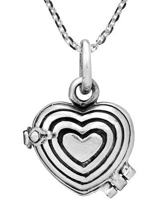 Handmade Elegant Layered Hearts Sterling Silver Locket Necklace (Thailand) (18 Inch - White)