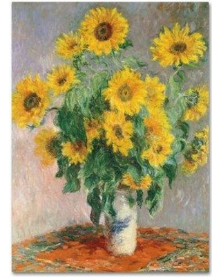 """Charlton Home 'Sunflowers' by Claude Monet Print on Wrapped Canvas CHRH7898 Size: 32"""" H x 24"""" W"""