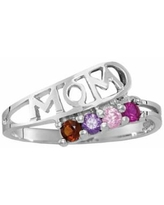 Personalized Sterling Silver Simulated Birthstone Mom Ring, 4 , No Color Family
