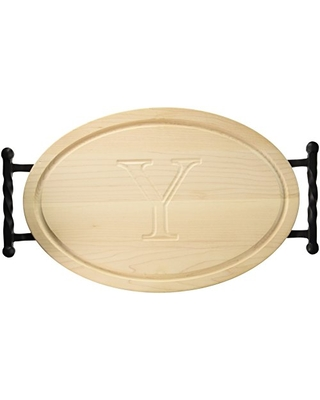 "BigWood Boards Oval Cutting Board with Twisted Ball Handle, 12-Inch by 18-Inch by 1-Inch, Monogrammed ""Y"", Maple"