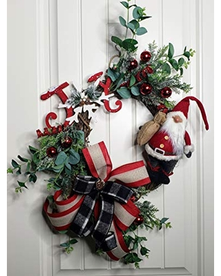 Gnome Christmas Wreath,Christmas Wreath for front door