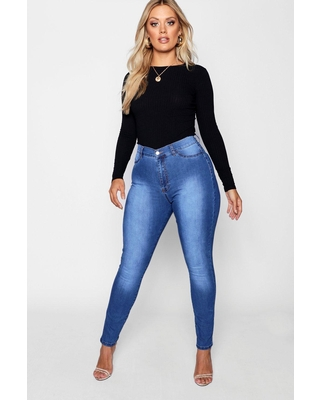 Womens Plus Super High Waisted Power Stretch Jeans - Blue - 12