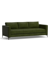 "Jake Leather Grand Sofa 95"", Down Blend Wrapped Cushions, Leather Legacy Forest Green"