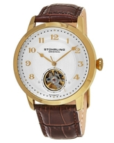 Stuhrling Original Men's Automatic Gold Tone Case, Open Heart Brown Leather Strap Watch