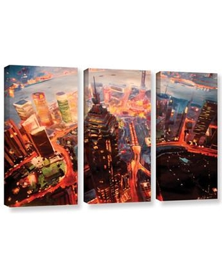 ArtWall Shanghai Skyline At Dusk by Marcus/Martina Bleichner 3 Piece Painting Print on Wrapped Canvas Set 0ble017c3654w