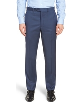 Men's John W. Nordstrom Torino Traditional Fit Flat Front Solid Trousers, Size 32 - Blue