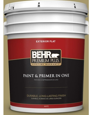 BEHR Premium Plus 5 gal. #PPU8-05 Eco Green Flat Exterior Paint and Primer in One