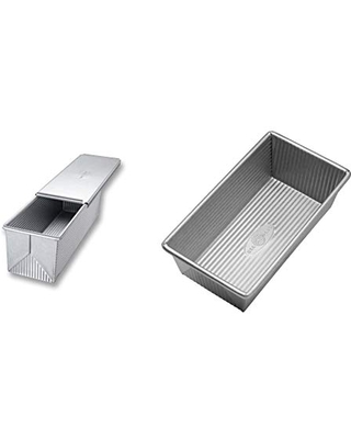 USA Pan Bakeware Pullman Loaf Pan with Cover, 13 x 4 inch, Nonstick & Quick Release Coating, Made in the USA from Aluminized Steel & Bakeware Aluminized Steel Loaf Pan, 1 Pound, Silver