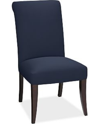 PB Comfort Dining Roll Upholstered Side Chair, Twill Cadet Navy