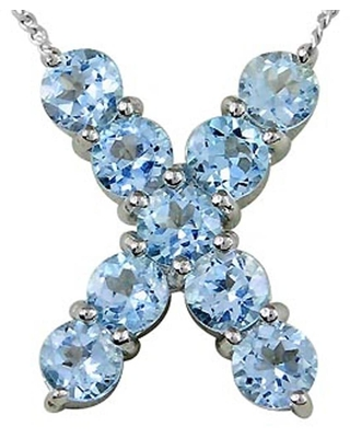 Blue Topaz Sterling Silver Round X-Initial Shape Pendant by Orchid Jewelry