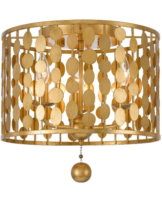 Crystorama Layla 15 in. 3-Light Antique Gold Flush Mount