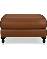 Bedford Ottoman, Tuscan Leather, Solid, Bourbon
