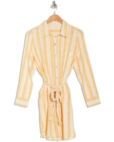 LOVESTITCH Stripe Braid Belted Shirt Dress, Size Small in Off White/yellow at Nordstrom Rack