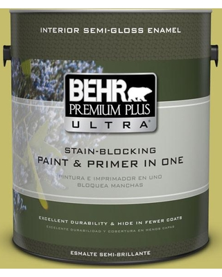 BEHR Premium Plus Ultra 1 gal. #P350-5 Go Go Lime Semi-Gloss Enamel Interior Paint and Primer in One