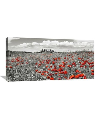 """Global Gallery 'Farm House with Cypresses and Poppies Tuscany Italy' by Frank Krahmer Photographic Print on Wrapped Canvas in Red GCS-463442-1224-142 / GCS-463442-1836-142 Size: 18"""" H x 36"""" W x 1.5"""" D"""