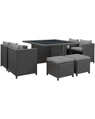 Modway Sojourn Wicker Rattan Outdoor Patio Sunbrella Fabric, 9-pc Dining Set in Canvas Gray