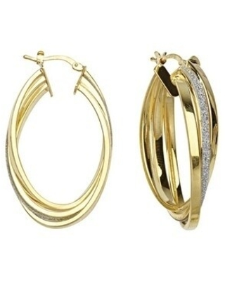 Curata 925 Sterling Silver 14k Gold Plated Sparkle Intertwined Large Hoop Earrings Jewelry Gifts for Women