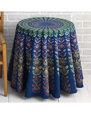 Here S A Great Deal On Blue Block Print Bandhook Tablecloth