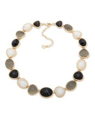 Anne Klein Jet Gold Tone Black with White Mother of Pearl Collar Necklace