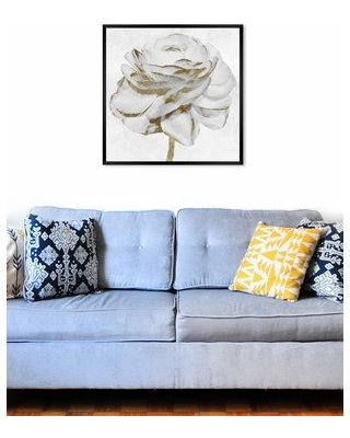"""House of Hampton 'White Gold Peony' Acrylic Painting Print W000119056 Size: 32"""" H x 32"""" W x 0.5"""" D Format: Black Framed Paper"""