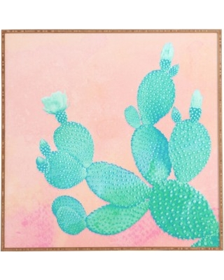 Deny Designs Pastel Cactus Framed Wall Art, Size 12x12 - Pink
