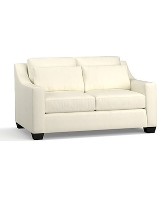 """York Slope Arm Upholstered Deep Seat Loveseat 60"""", Down Blend Wrapped Cushions, Premium Performance Basketweave Ivory"""