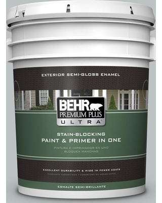 BEHR ULTRA 5 gal. #PPU26-18 Silver Mine Semi-Gloss Enamel Exterior Paint and Primer in One