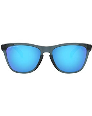 Oakley OO9013 Frogskins Square Sunglasses, Crystal Black/Prizm Sapphire Polarized, 55 mm