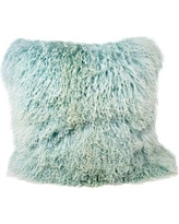 "Trophy Room Stuff Tibetan Lamb Fur Throw Pillow BSTR1034 Color: Light Teel Size: 20"" x 20"" x 6"""
