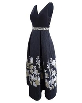 Betsy & Adam Women's Floral-Print Fit & Flare Gown - Black/Gunmetal