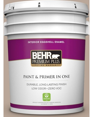 BEHR Premium Plus 5 gal. #PPU5-14 Mesa Taupe Eggshell Enamel Low Odor Interior Paint and Primer in One