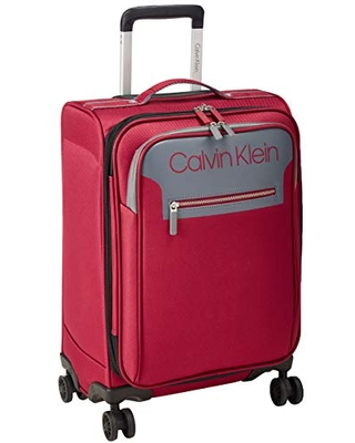 Calvin Klein Flare Softside Spinner Luggage, Grey/Red, 21 Inch