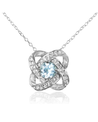Blue and White Topaz Sterling Silver Love Knot Necklace