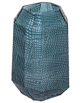 Torre & Tagus Soto Geometric Glass Vase for Flowers, Modern Polygonal Tabletop Centerpiece & Home Decor Interior Accent,11.5-inch Height, Atlantic Ocean Blue