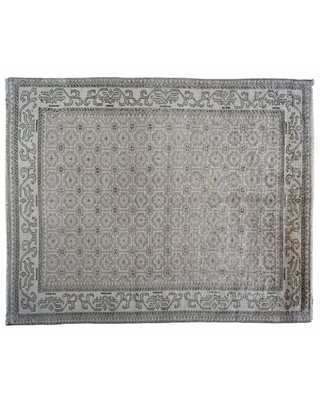 """One-of-a-Kind Hand-Knotted Gray 8' x 9'11"""" Wool Area Rug"""