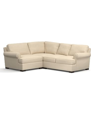 Townsend Roll Arm Upholstered Right Arm 3-Piece Corner Sectional, Polyester Wrapped Cushions, Performance Everydayvelvet(TM) Buckwheat