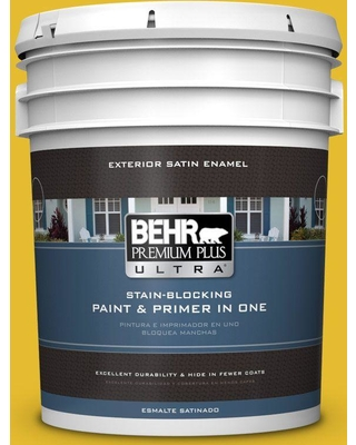 BEHR ULTRA 5 gal. #T11-11 Lizard Breath Satin Enamel Exterior Paint and Primer in One