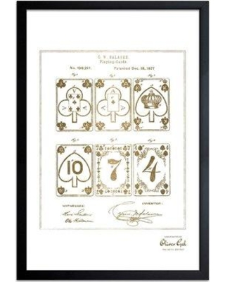 Williston Forge 'Improvement in Playing Cards 1877' Framed Drawing Print in Gold WLFR2301 Frame Color: Black