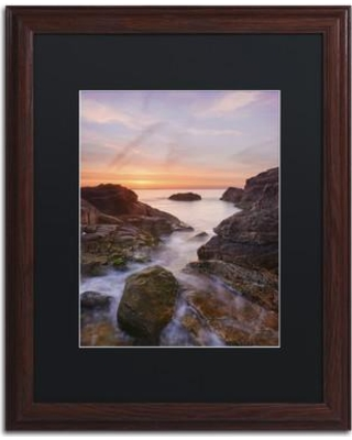 "Trademark Fine Art 'Channel to the Sun' Framed Graphic Art on Canvas ALI2388-W1 Size: 14"" H x 11"" W x 0.5"" D Matte Color: Black"
