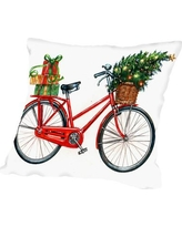 """Americanflat Christmas Bicycle Throw Pillow A193P012PILL Size: 14"""" H x 14"""" W x 2"""" D"""