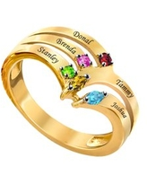 Laser Engraved Family Ring with Up to Five Birthstones
