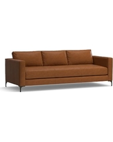 """Jake Leather Grand Sofa 95"""", Polyester Wrapped Cushions, Leather Signature Maple"""