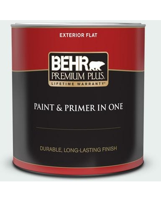 BEHR PREMIUM PLUS 1 Qt. #PPL-36 Cool Reflection Flat Exterior Paint and Primer in One