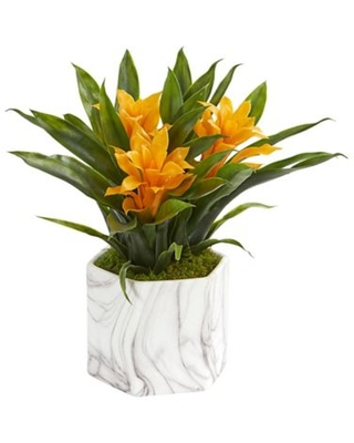 """Nearly Natural 11"""" Artificial Yellow Bromeliad Plant In Vase"""